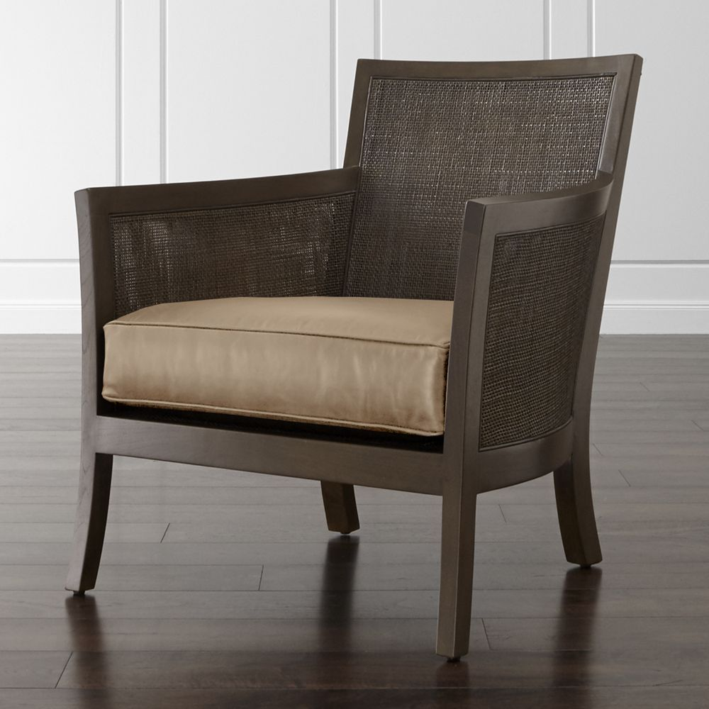 Blake carbon grey rattan chair with leather cushion