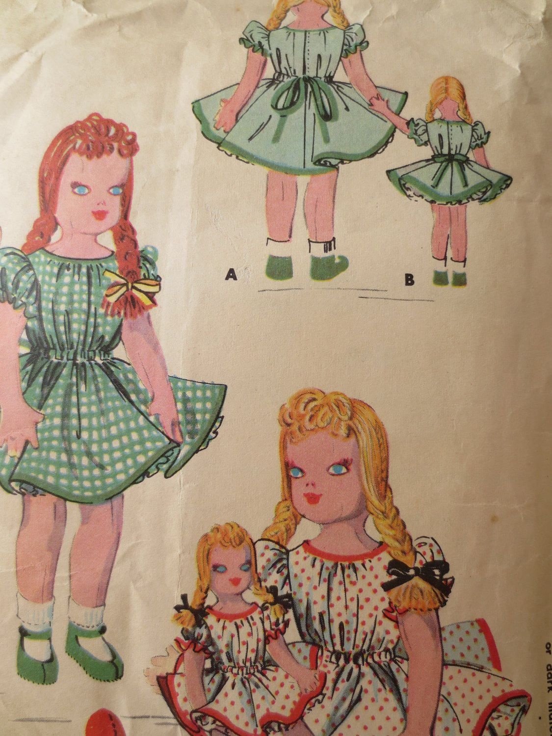 HOLLYWOOD Doll Pattern 1687 Pinafore Dress Pantie Rag Cloth Fabric Sewing 21""