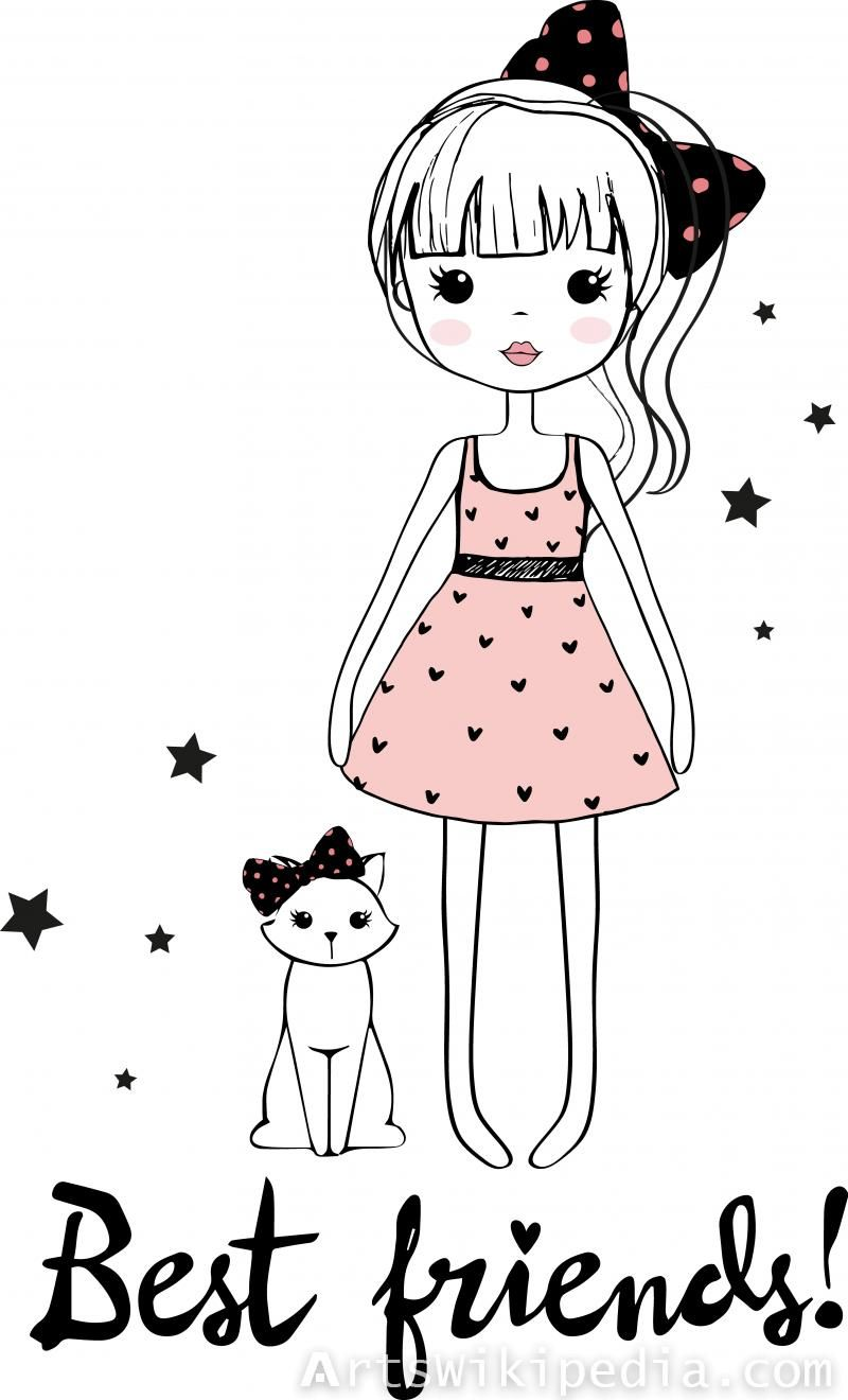 Cartoon Girl With Cat Cute Cartoon Girl Girl Cartoon Cartoon