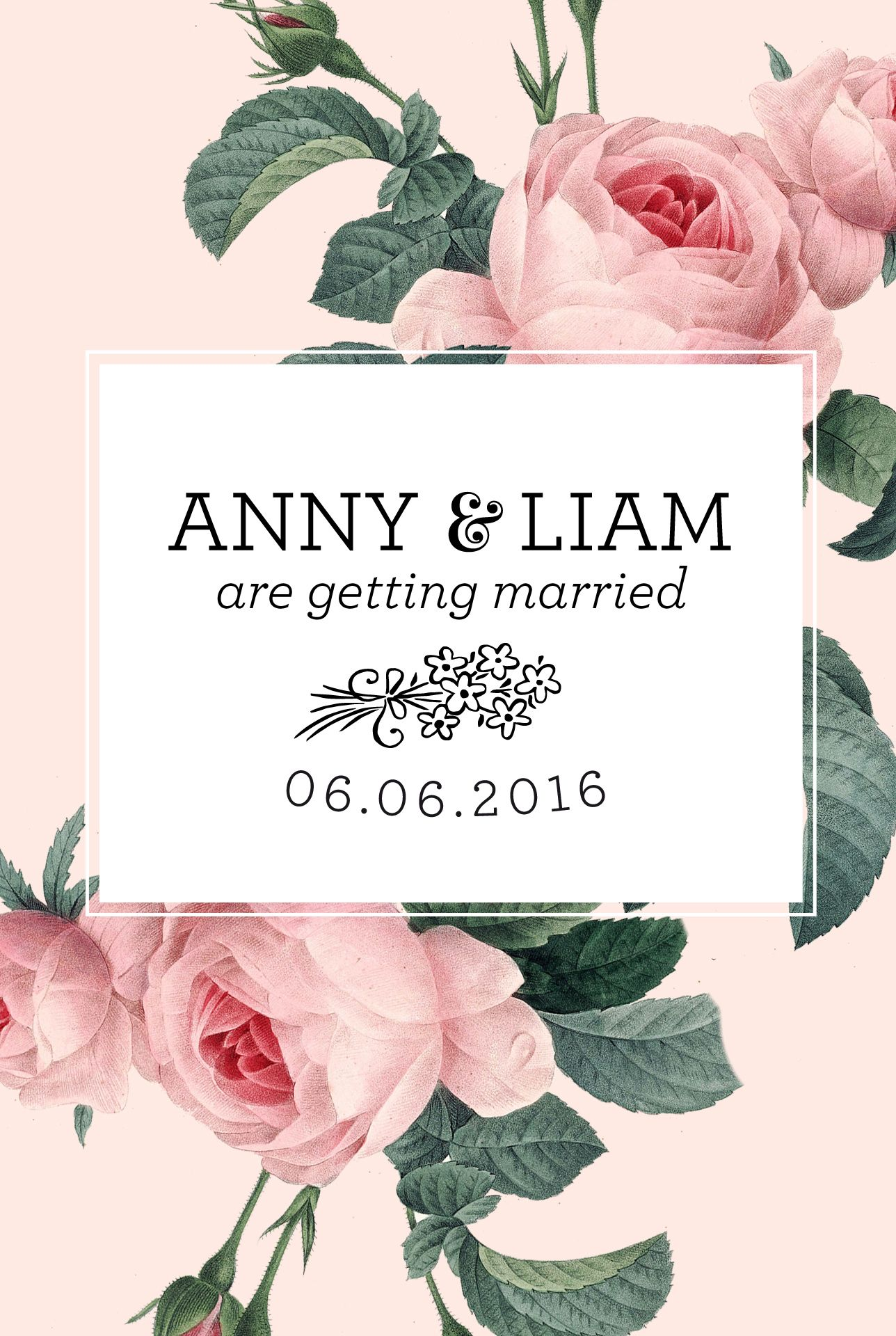 Personal Save the Date Stamp with flowers | Stationery items and ...