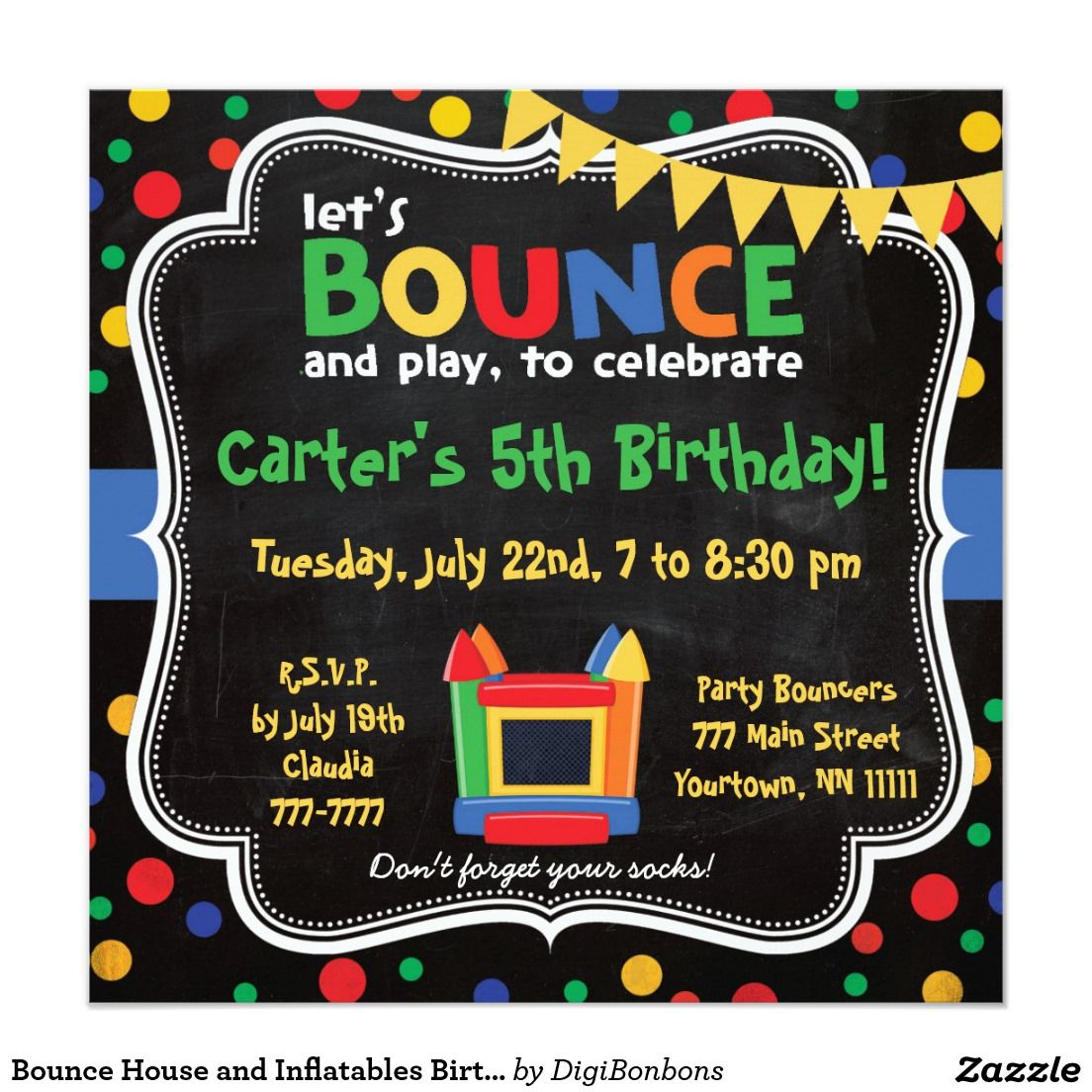 Bounce house and inflatables birthday invitation boys birthday bounce house and inflatables birthday invitation filmwisefo Images