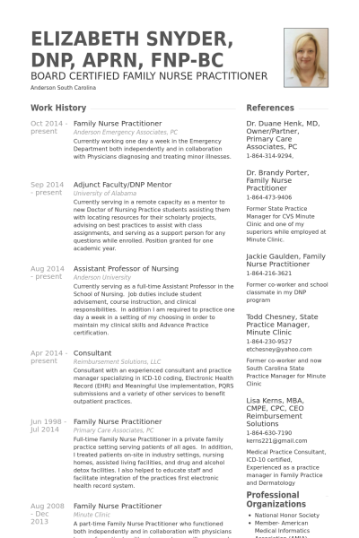 family nurse practitioner resume example resumes pinterest