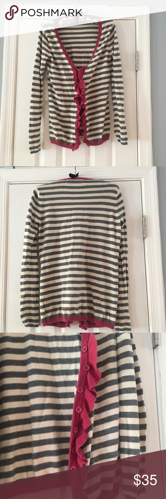 Sparrow | Striped and Ruffled Sweater 🌺 Pretty and soft sweater by Sparrow, from Anthropologie. Grey and off-white stripes, and pink button and ruffle accents. 100% Cotton Anthropologie Sweaters Cardigans