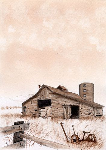 Country House Dra2wing: Barn At Rest, Monochrome Water Color