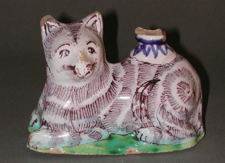English Delftware Tin Glazed Earthenware Cat Candle