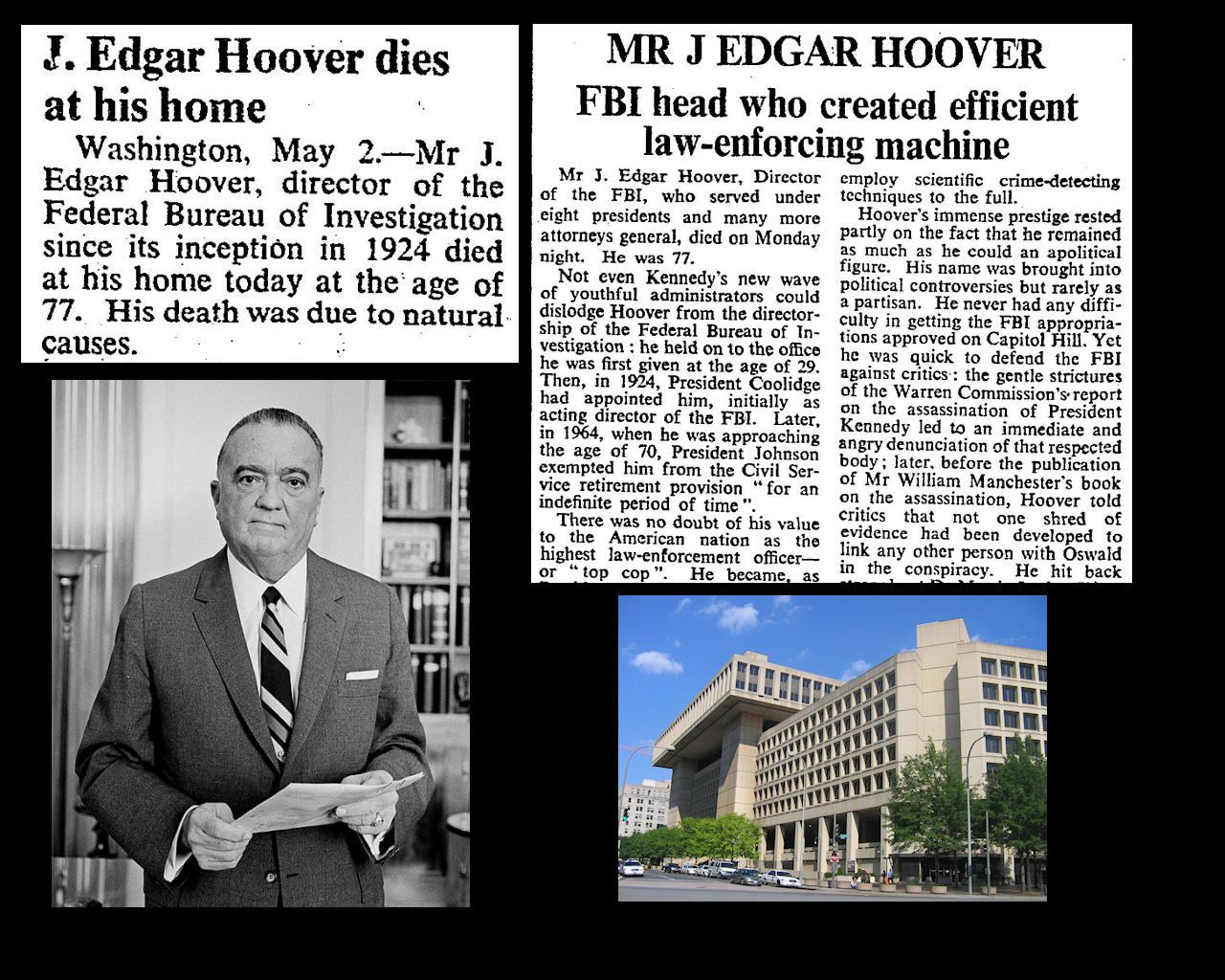 2nd May 1972 - Death of J. Edgar Hoover