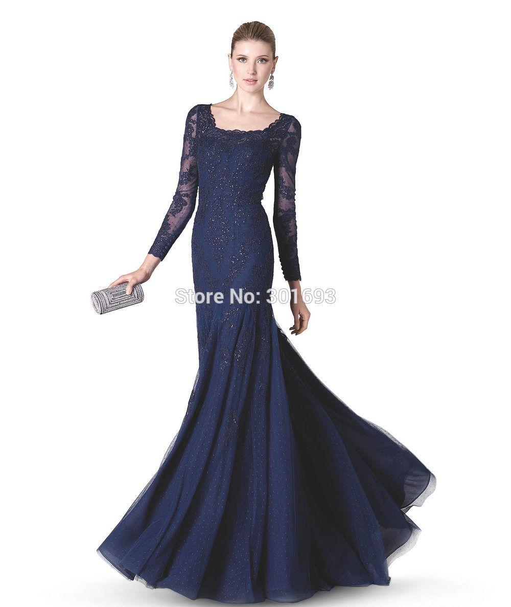 images navy blue long dresses | ... Neck Navy Blue Mermaid Long ...