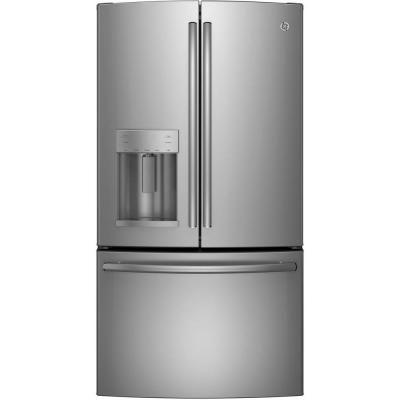 Ge 22 1 Cu Ft French Door Refrigerator In Stainless Steel