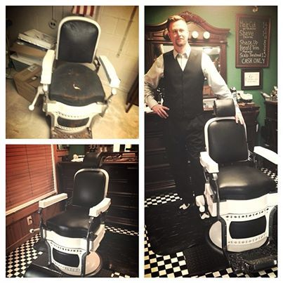 Smithville Barber Shoppe S 100 Year Old Barber Chair Is Finally Finished Stop In And Check It Out Vintage Restorationproject Smithvillebarbershoppe Barbe