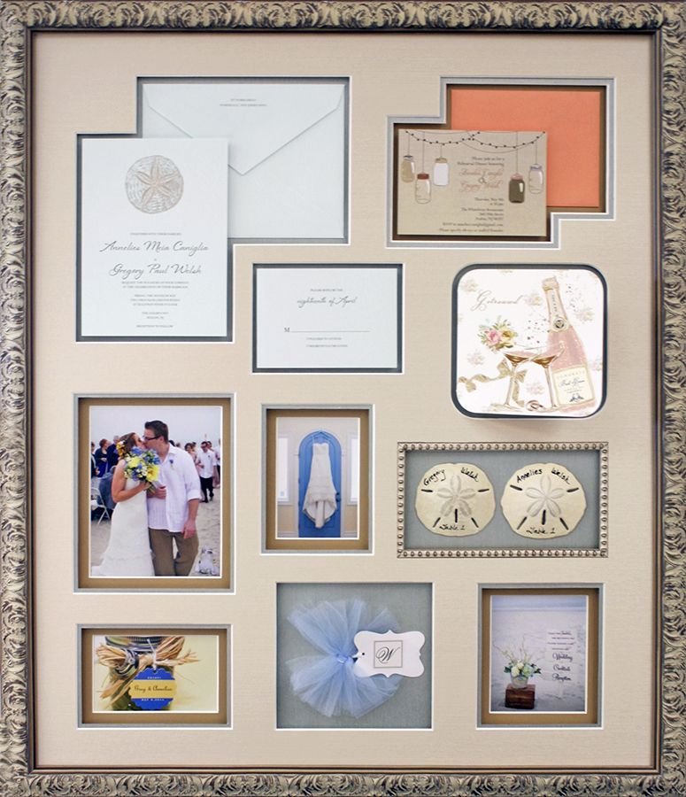 Preserve All The Little Details Of Your Wedding With A Collage Like This One This Beach Themed Wedding Collage C Wedding Collage Wedding Frames Unique Framing