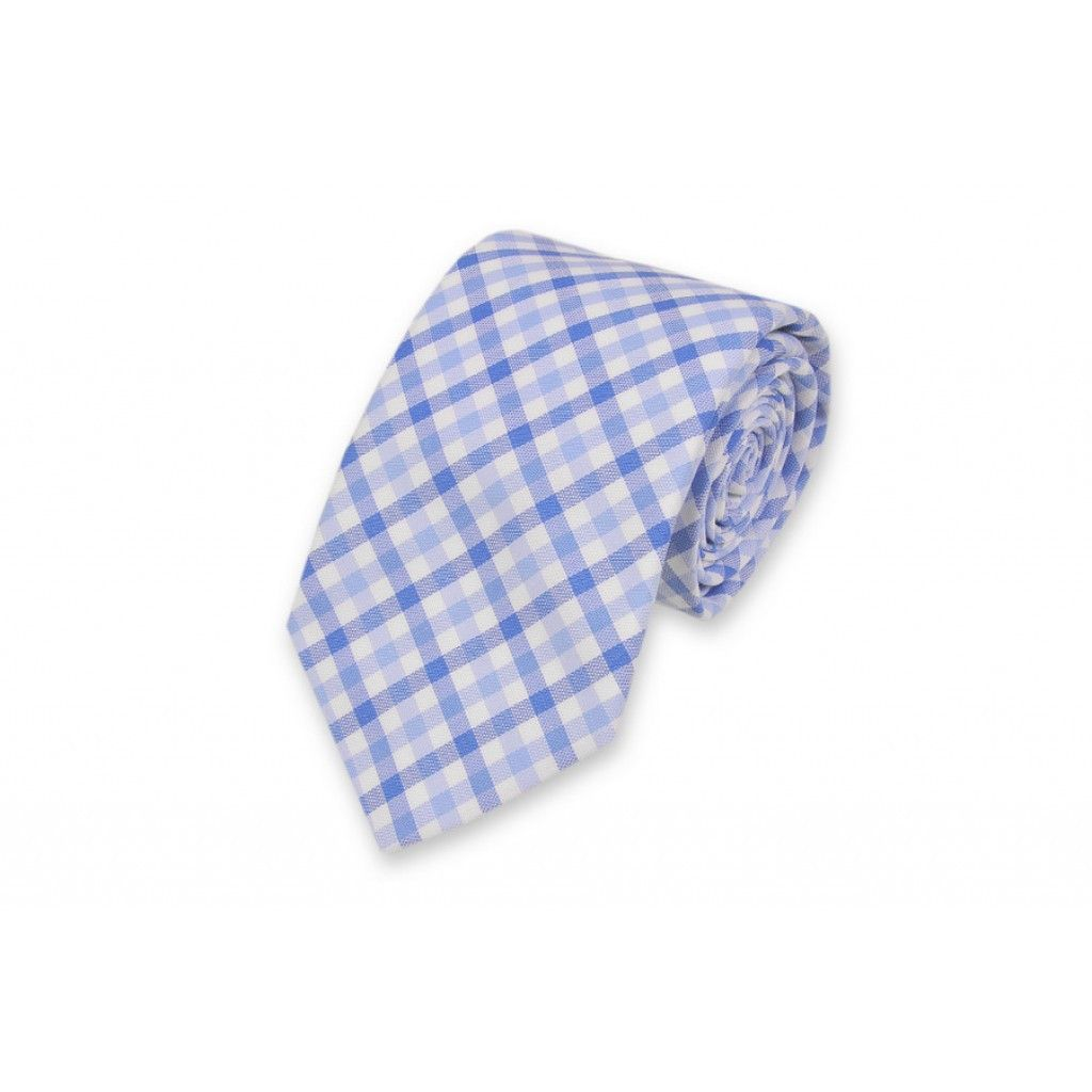 Blake Check Necktie in Blue by High Cotton