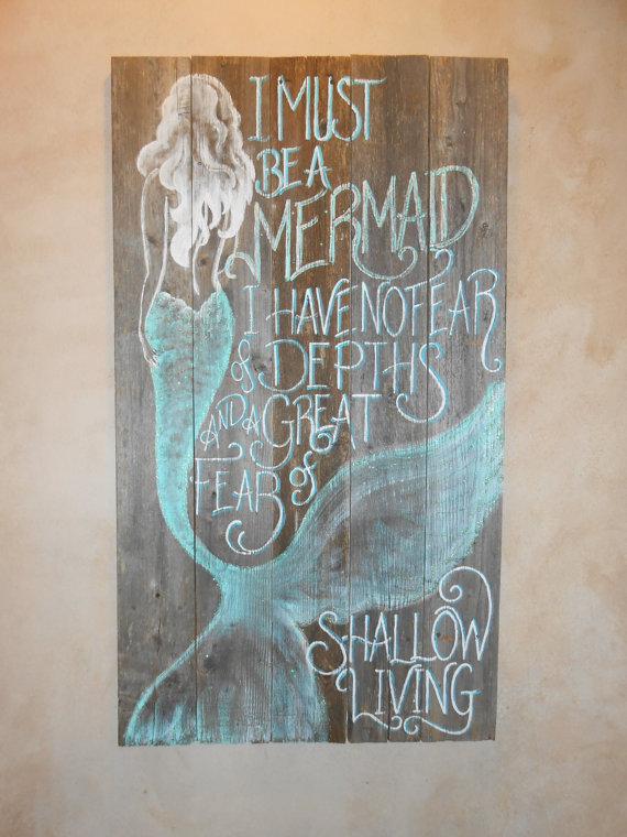 Barnwood Mermaid Sign Hand Painted Original Glittered