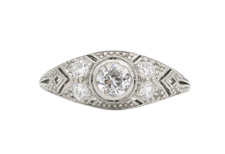 f17bd4dc5 Lippa's Estate and Fine Jewelry - Platinum Old European Cut Diamond Ring by  Marcus