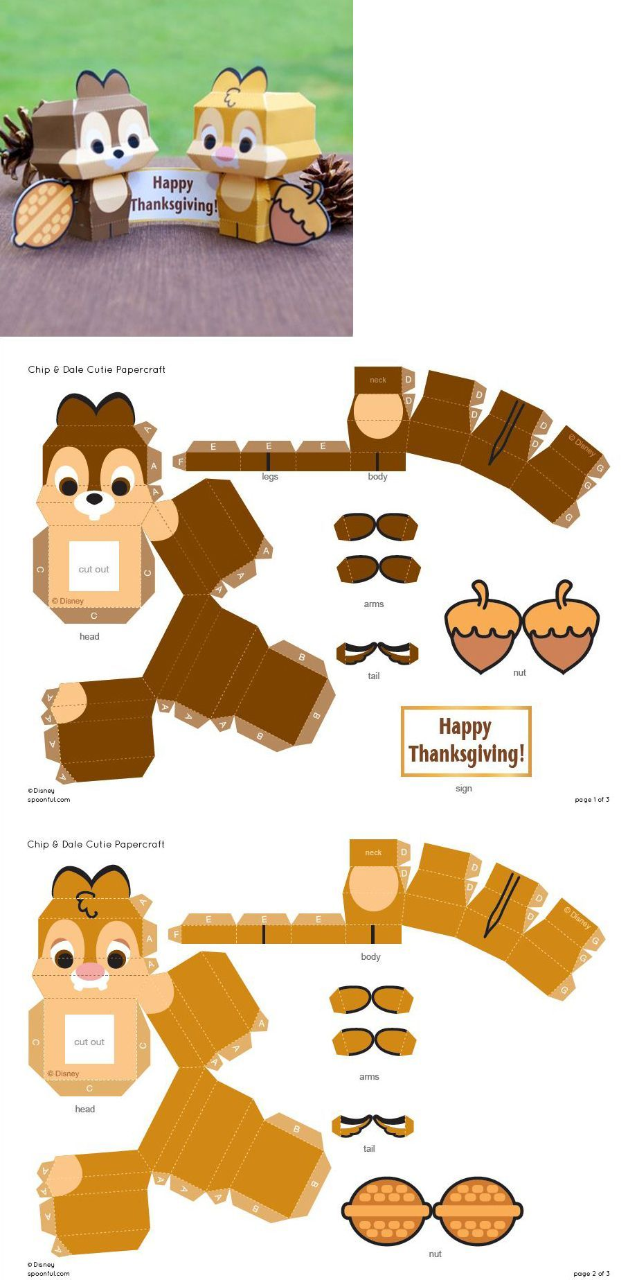 Playing And Crafting Chip And Dale Cute Papercraft ต กตากระดาษ