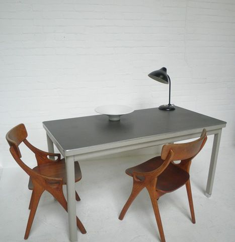 industriele vintage eetkamer tafel staal Gispen stijl, Industrial ...
