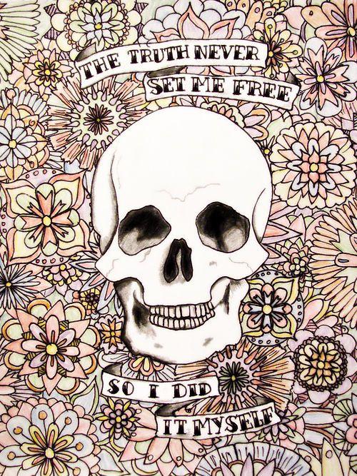 Pretty Skulls Tumblr   flower drawings in color pencildrawing art random paramore flowers ...