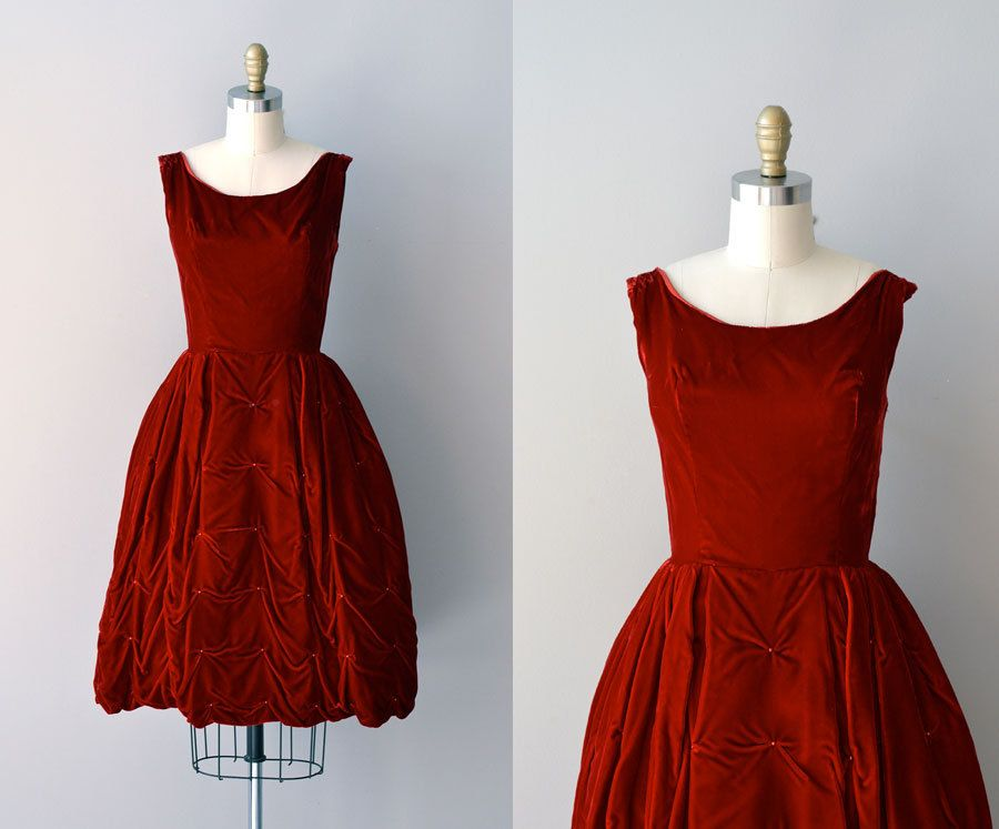 50s party dress / velvet 1950s dress / Subtle Drama dress. $158.00, via Etsy.  Beautiful for Christmas or Valentine's