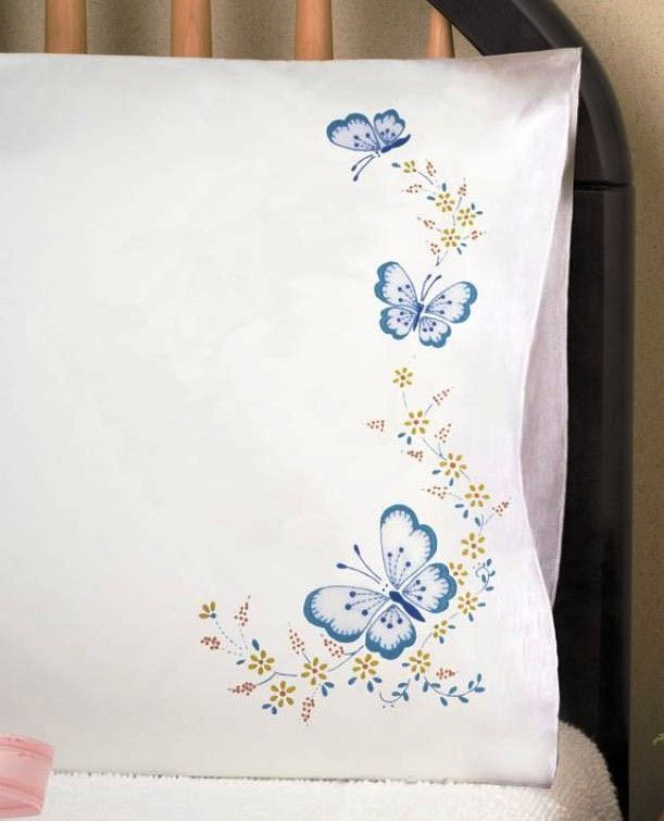 Tobin Stamped Embroidery Butterfly Pillowcases Crewel Embroidery