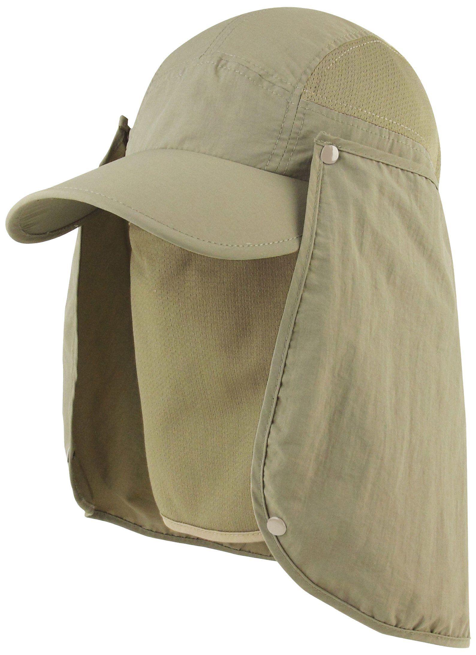 Juniper Taslon Uv Cap Large Bill Cap One Size Khaki Detachable Face Cover W Nose Insert Back Flap Uv Protection Wat Cap Mens Sun Hats Sun Hats