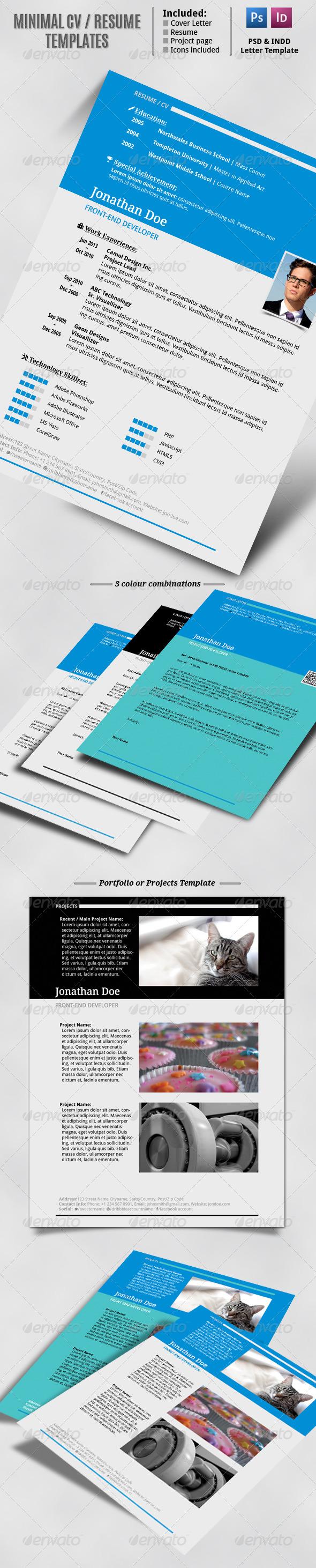 Minimal CV Resume Set Resume, Print templates, Resume cv