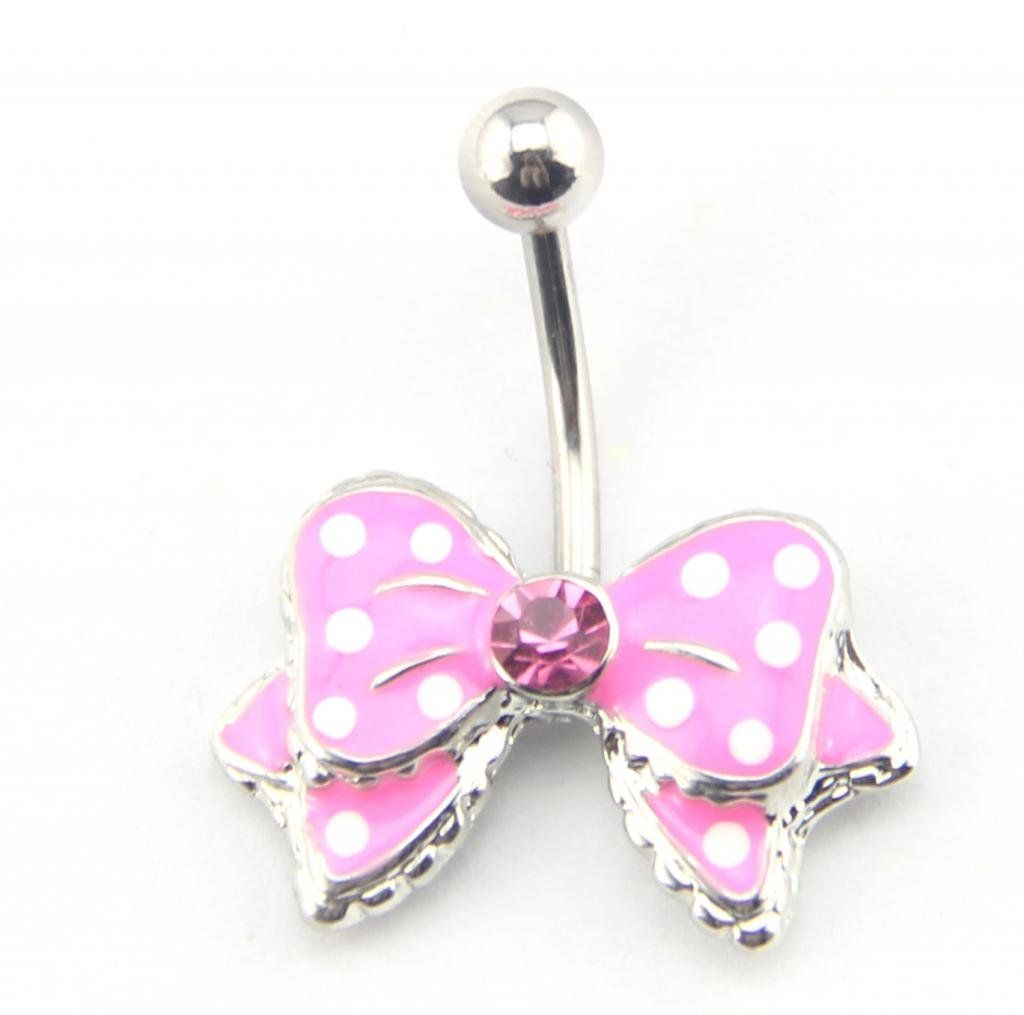 Gold belly piercing jewellery  Baqi G Pink Bow Bowknot Enamel Belly Ring Navel Bar Body Piercing