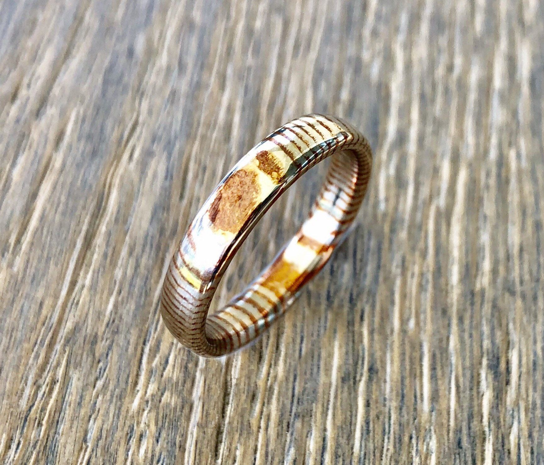 Custom damascus steel mokume gane ring made to order promise ring