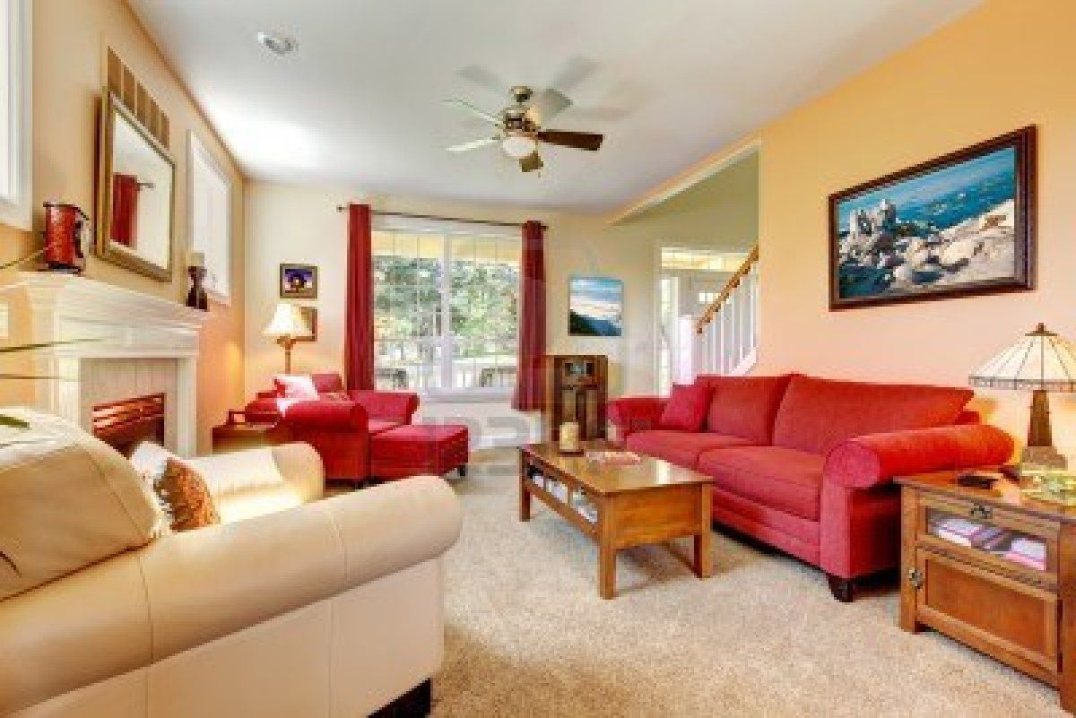 Fancy Sharp Peach And Red Living Room Design With