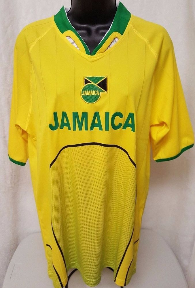 5c3c4f6afbd Unisex Black Yellow White Green Jamaica Soccer Jersey Size M  Jamaica   Jamaica