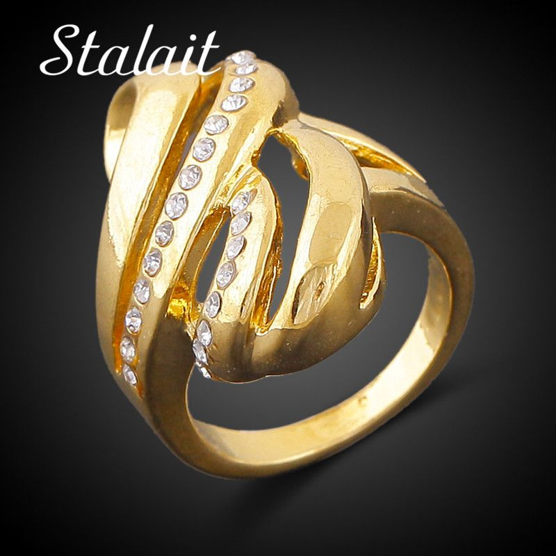 Gold Color Party Ring Dubai Couple Wedding Rings Womens Copper Ring