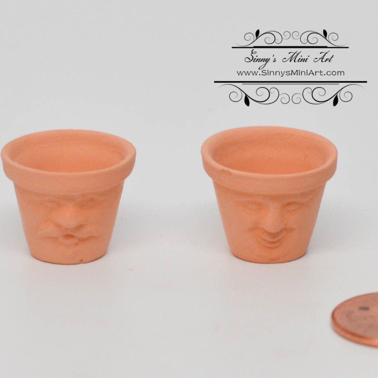 A Pair 1 12 Dollhouse Miniature Face Clay Pots Set Of 2 Miniature Gardening Bd B243 Dollhouse Miniatures Clay Pots Miniatures