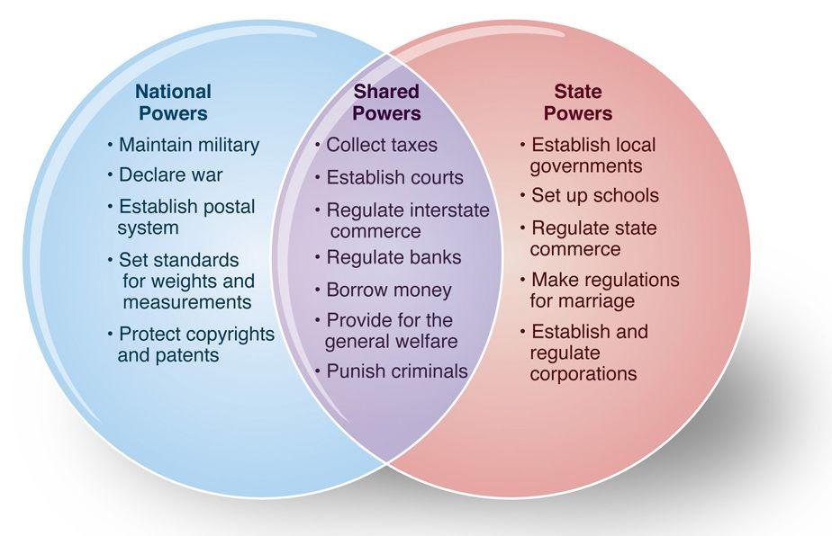 Figure 3.1 titled Chart of U.S. Federalism. The chart is ...