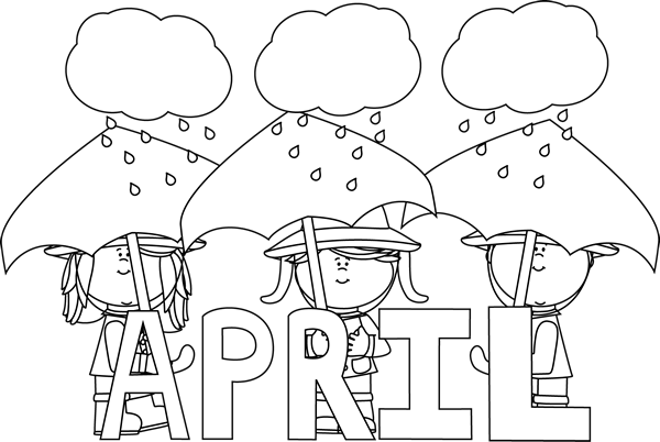 Black And White Month Of April Showers Abc Coloring Pages Coloring Calendar Bird Coloring Pages