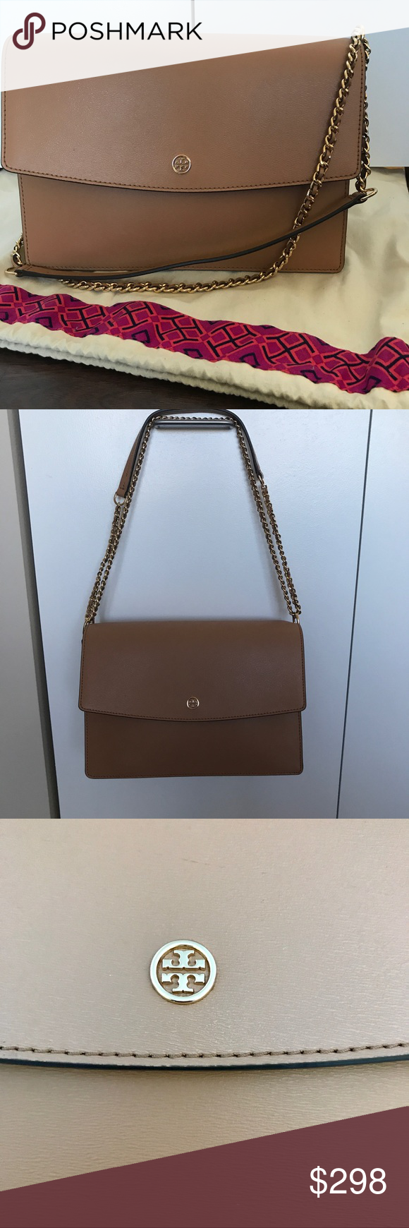 4a1ae29f95a Tory Burch Parker Convertible Large Shoulder Bag Tory Burch Parker  Convertible Large Shoulder Bag in Cardamom Royal Navy EUC. No sign of wear   like new!