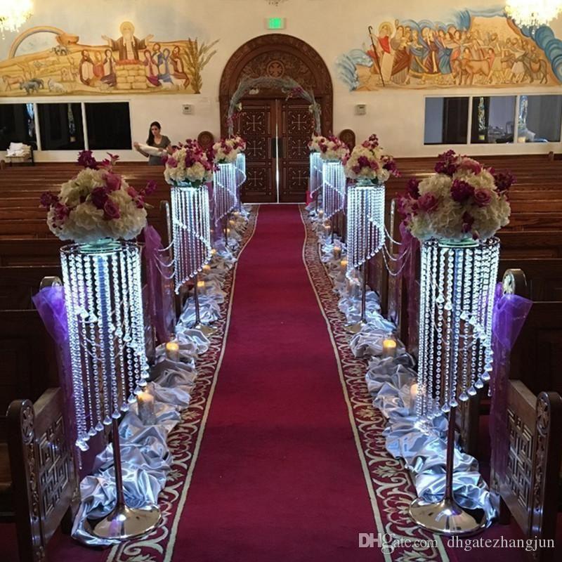 Wholesale Wedding Aisle Crystal Pillars Wedding Walkway Stand