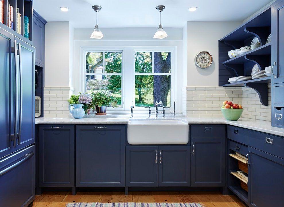 Blue Farmhouse Kitchen Traditional With Dark Blue Open Shelf Open Shelf Oak Kitchen Cabinets Blue Kitchen Cabinets Home Kitchens