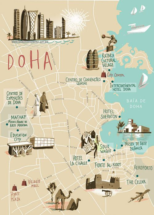 Doha Qatar Map on