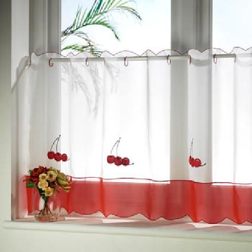 One Panel Ready Made Eyelet Top Kitchen Voile Cafe Net Lace French Curtains  | EBay