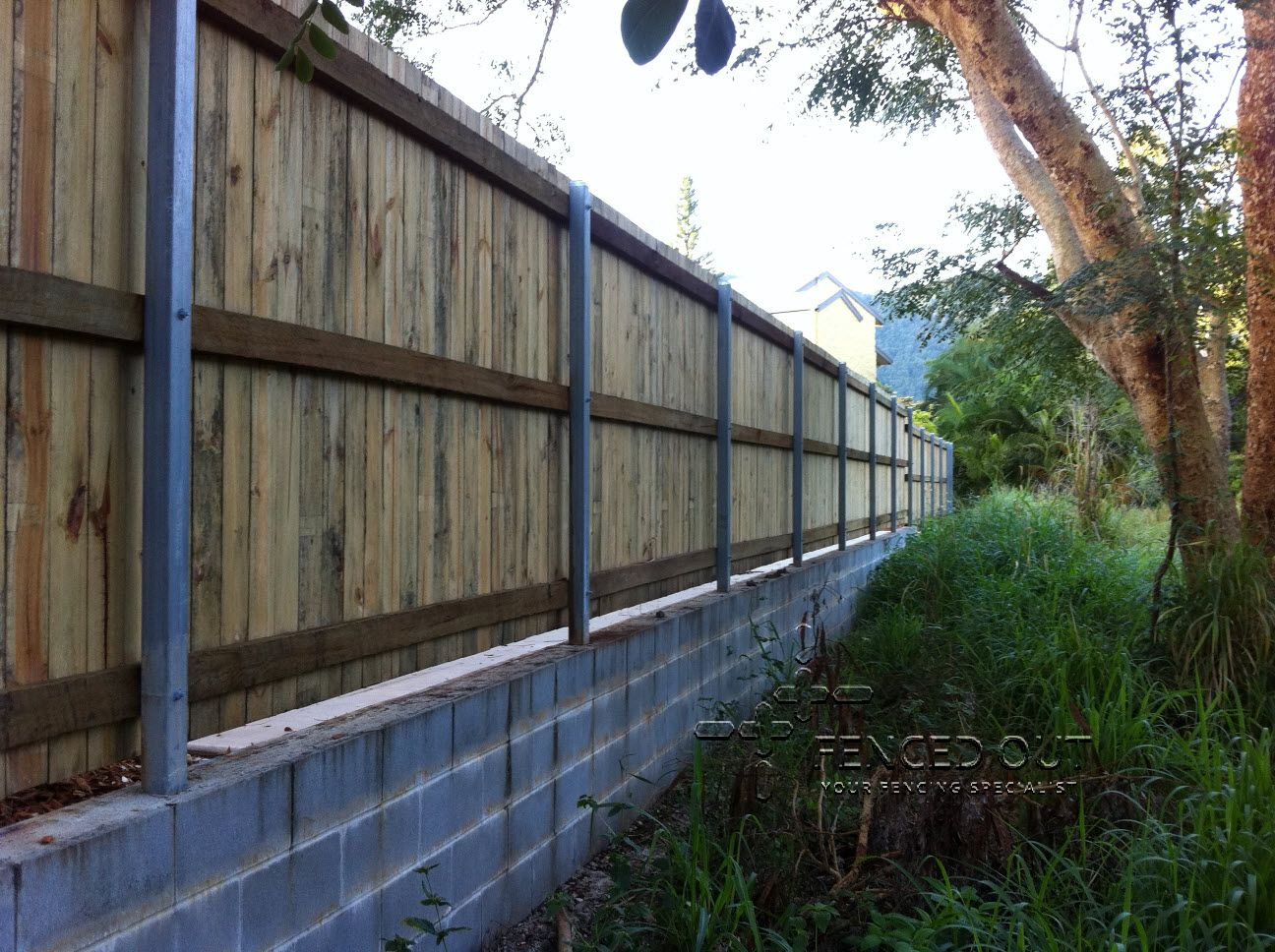 Timber Fence With Retaining Wall Timber Fencing Retaining Wall Outdoor Structures