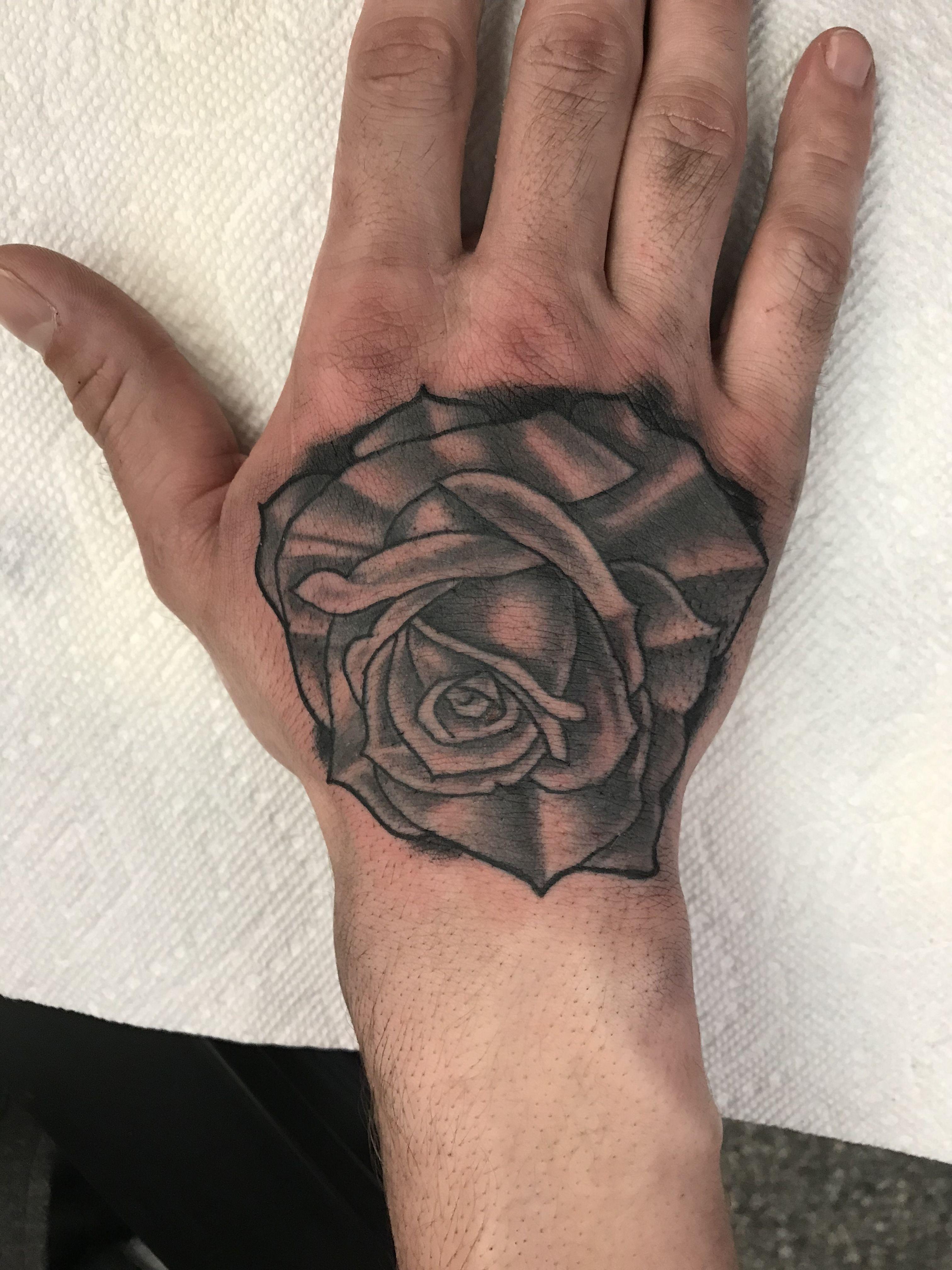 Black and grey rose hand tattoo rose hand tattoo hand