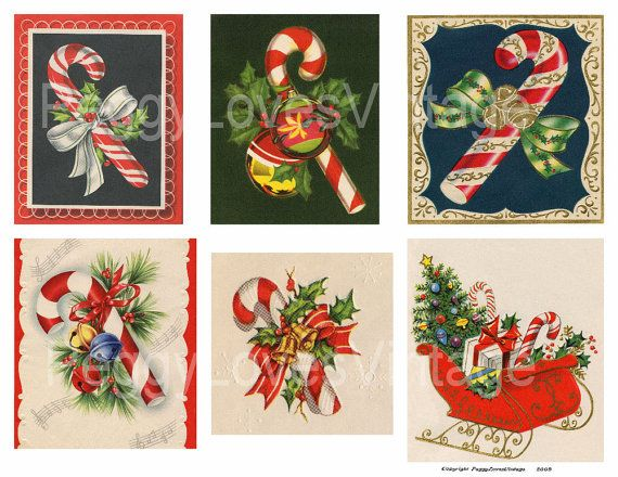 Candy Canes 1 Digital Collage from Vintage by PeggyLovesVintage, $2.50