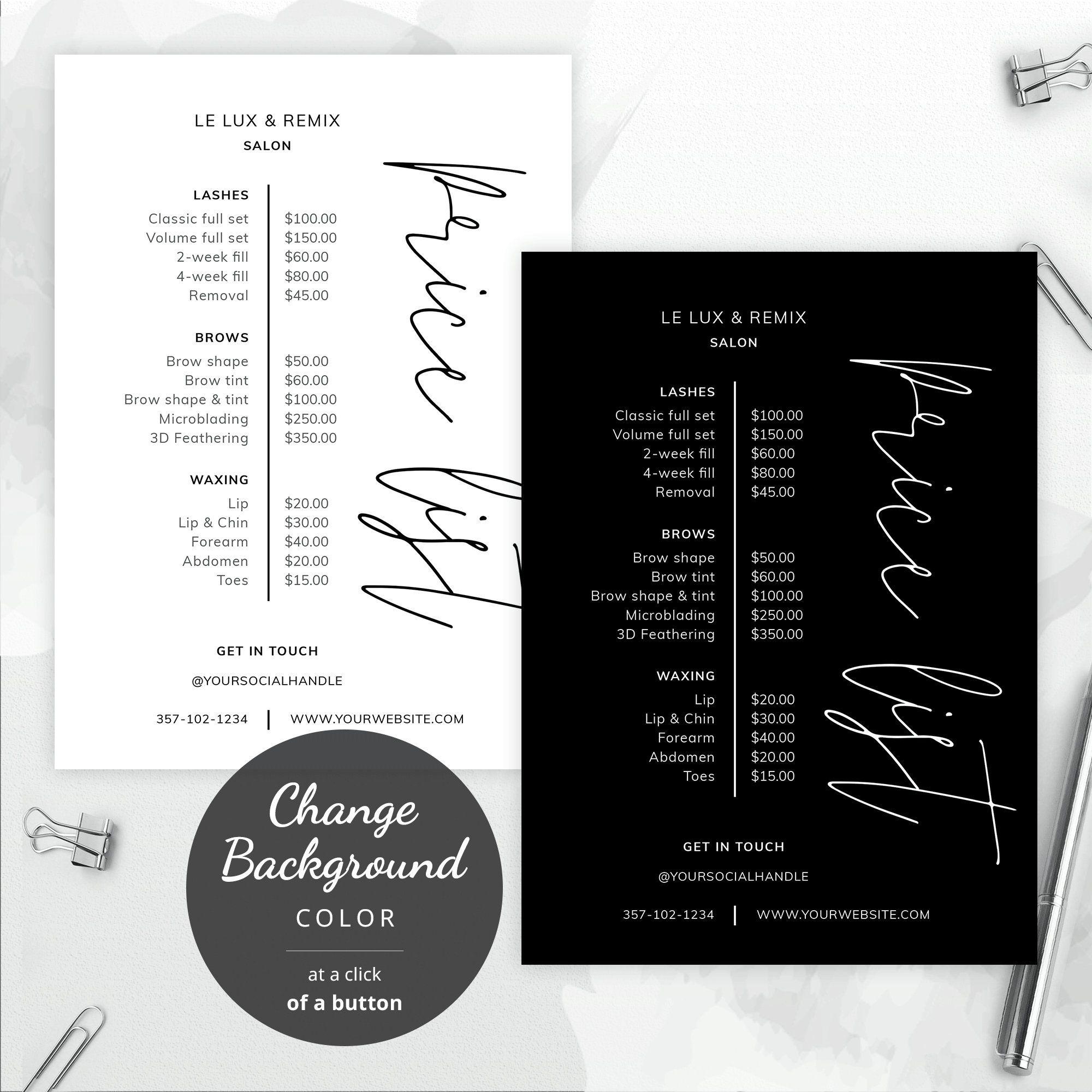 Business Price List Editable Menu Template Printable Price Sheet Salon Price List Beauty P Price List Template Salon Price List Beauty Salon Price List