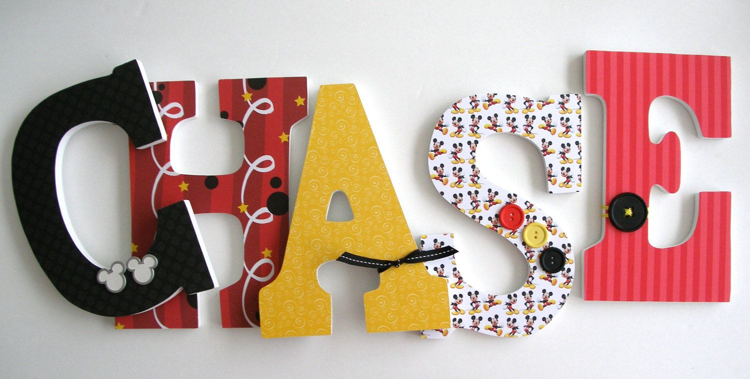Mickey Mouse Disney Custom Decorated Wooden Letters, Nursery Name Décor,  Unisex Bedroom, Hanging Wood Wall Decorations, Baby Shower Gift
