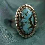 Candelaria Turquoise Ring. Picture perfect nugget in a sterling silver setting. Navajo made. Always one of a kind.