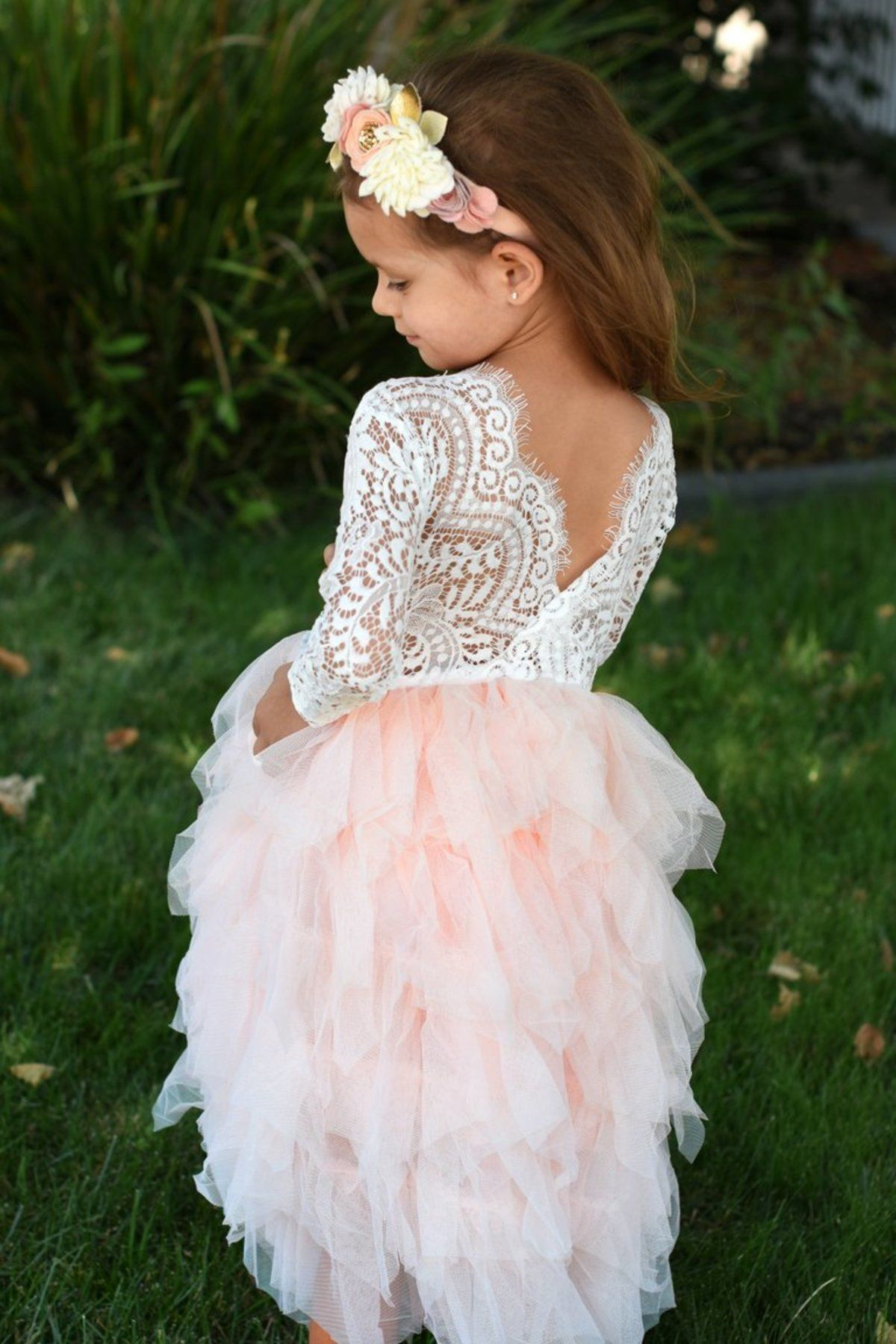 5e1aebf75 Tiered Lace Flower Girl Dress