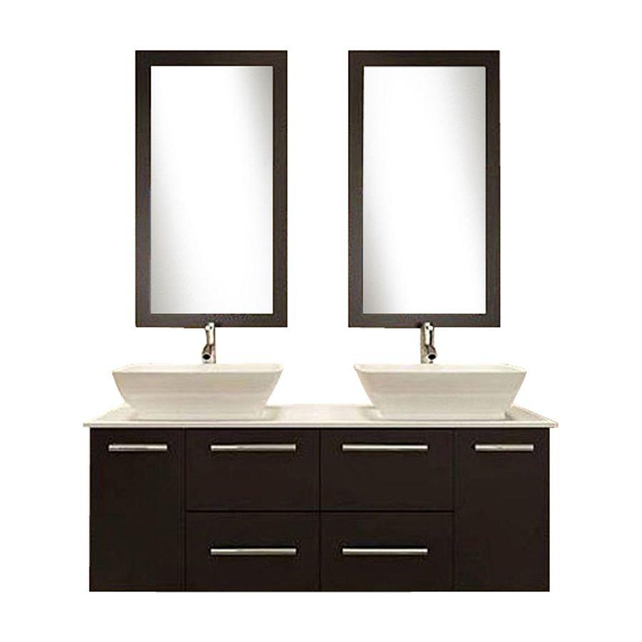 Kokols Usa Espresso 60 In Vessel Double Sink Oak Bathroom Vanity