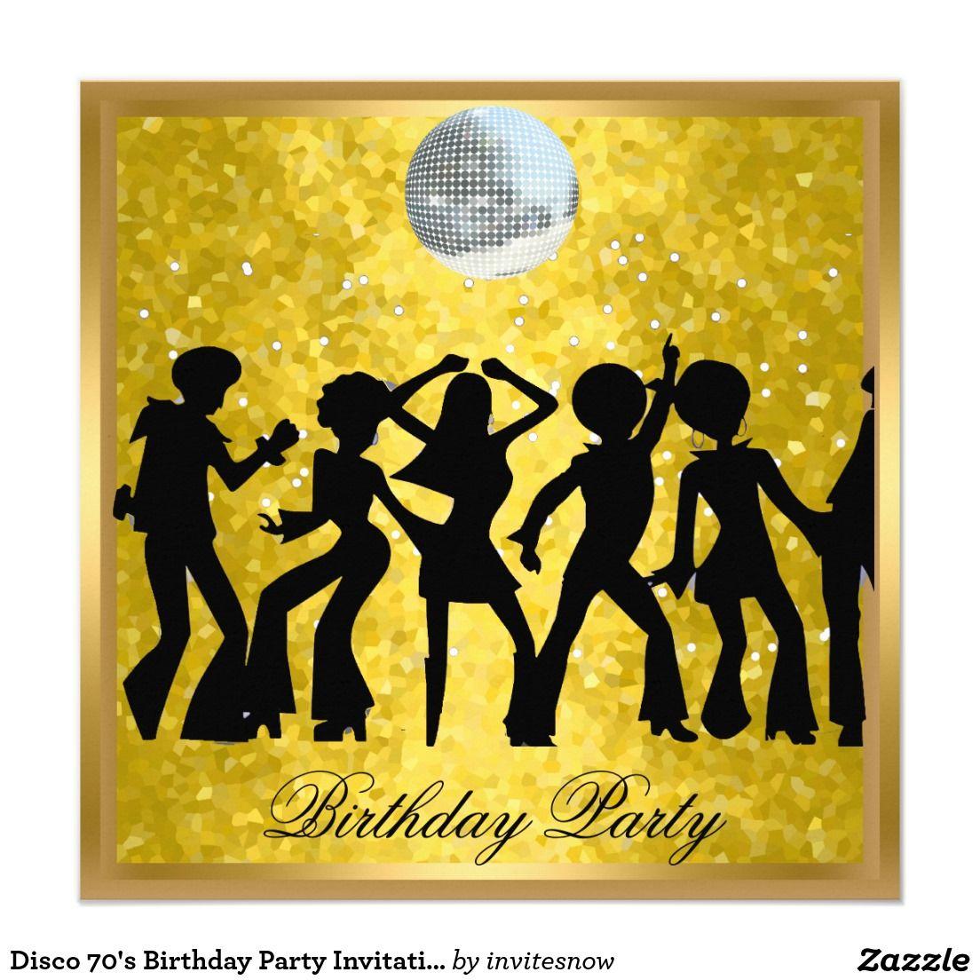 Disco 70's Birthday Party Invitation Retro | Party invitations ...
