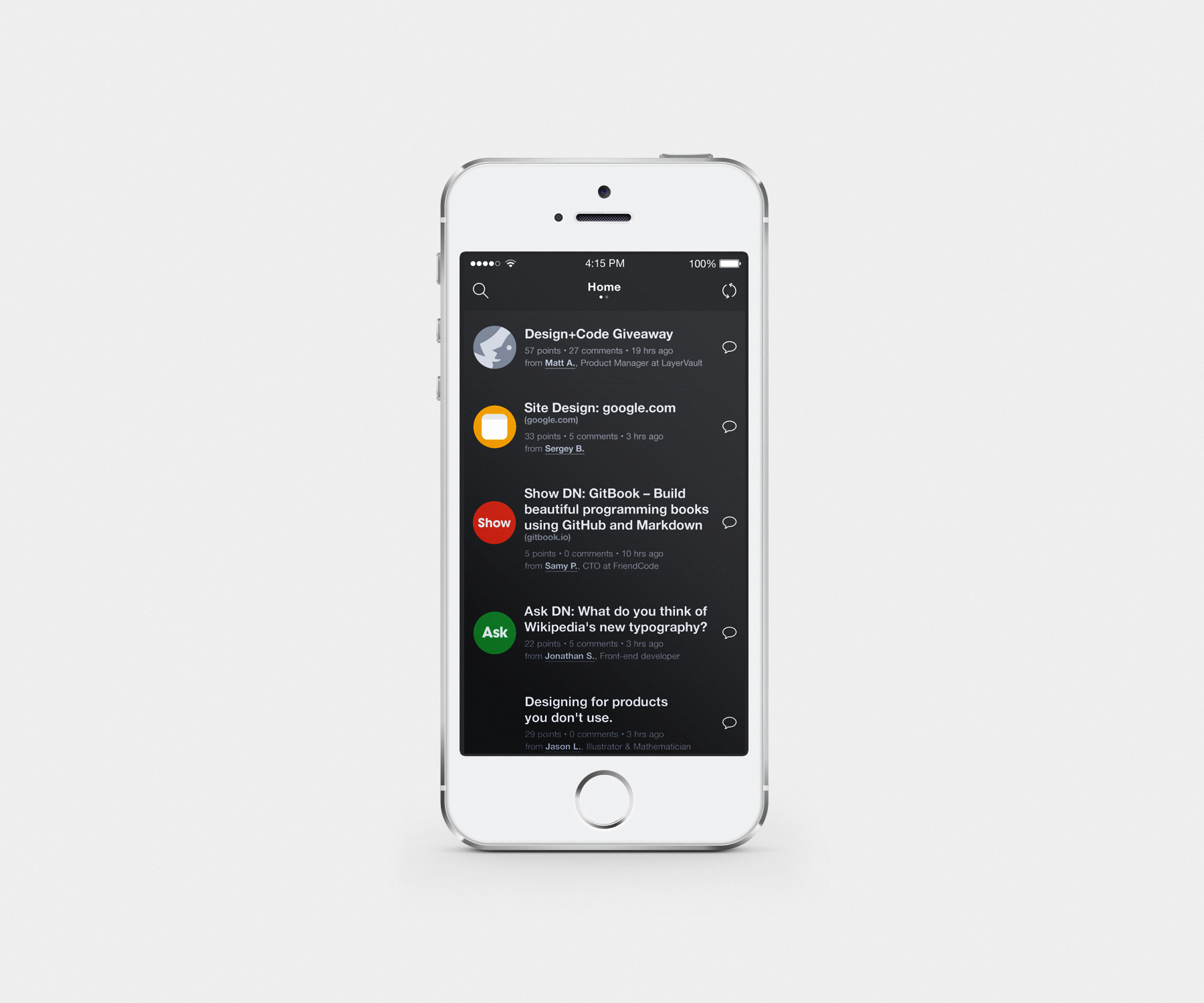 Designer News Home Screen by Graph Concepts | UI / UX Gallery ...