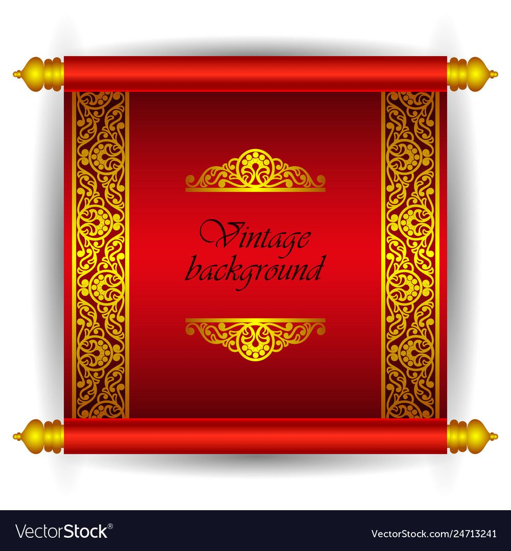 Vector Scroll Banner In Royal Luxury Moroccan Arabic Style Golden Ribbon Floral Pattern On A Red Background Scroll Invitation Scroll Templates Moroccan Arabic