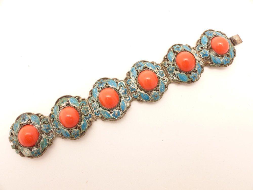 Stunning Vintage CHINESE  Export Blue Enamel and Orange Stones Bracelet #Chinese