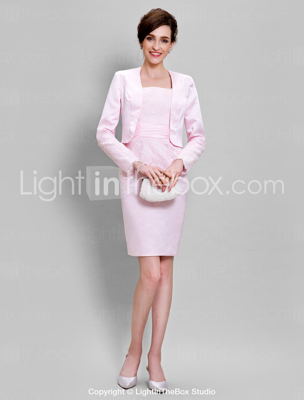 3930e39095be Lanting Bride Pouzdrové Šaty pro matku nevěsty Ke kolenům Dlouhý rukáv  Krajka…